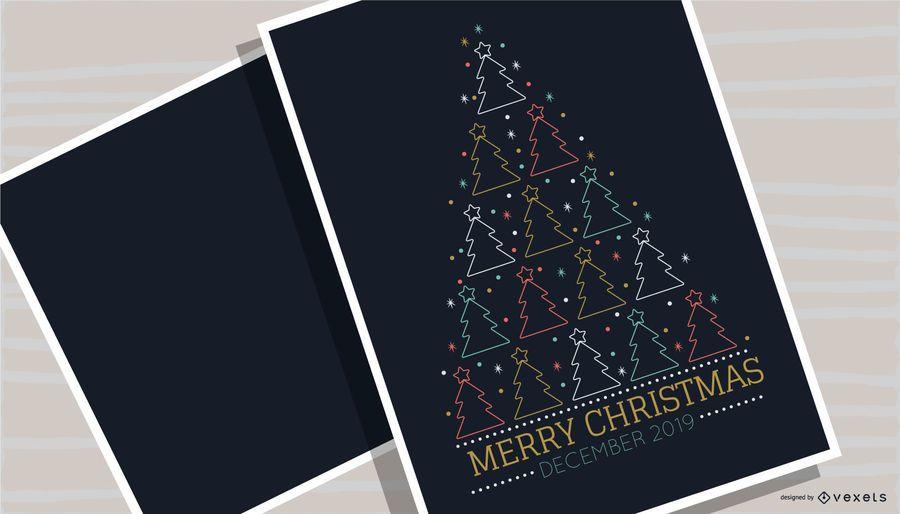 Design de cartaz de árvore de feliz Natal