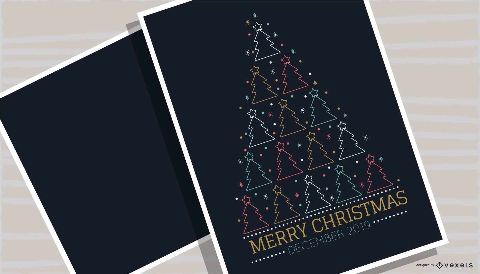 Merry Christmas Tree Poster Design