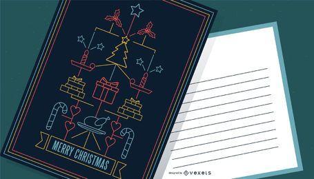 Design de cartaz de feliz Natal em estilo traço