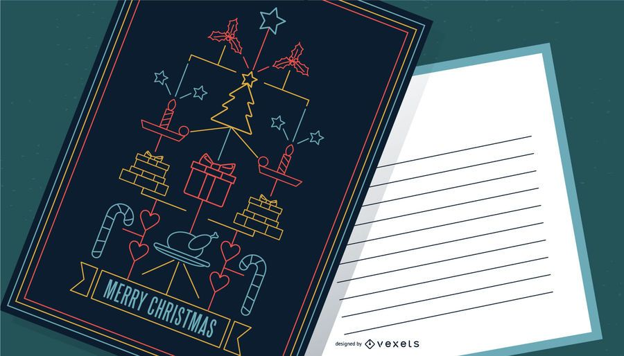 Stroke Style Merry Christmas Poster Design