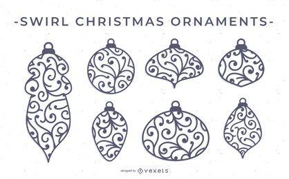 Conjunto de vectores de adorno de Navidad de remolino