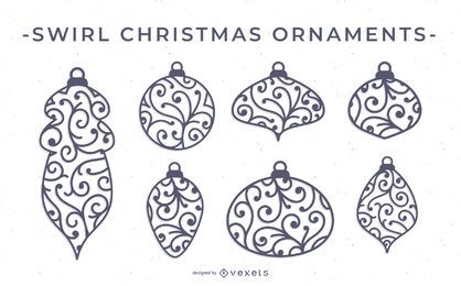 Swirl Christmas Ornament Vector Set