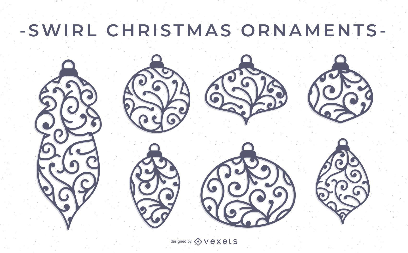 Christmas Ornament Vector.Swirl Christmas Ornament Vector Set Vector Download