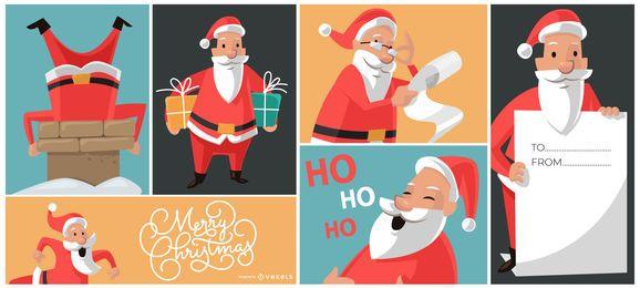 Composição de desenhos de Papai Noel de Natal