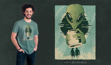Alien humans abstract t-shirt design