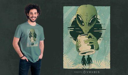 Design de t-shirt abstrata de seres humanos alienígenas