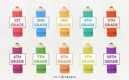 Conjunto de diseño de lápiz de grado escolar