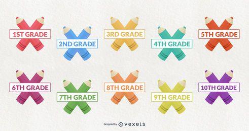 Conjunto de diseño de grado escolar decorativo de aula