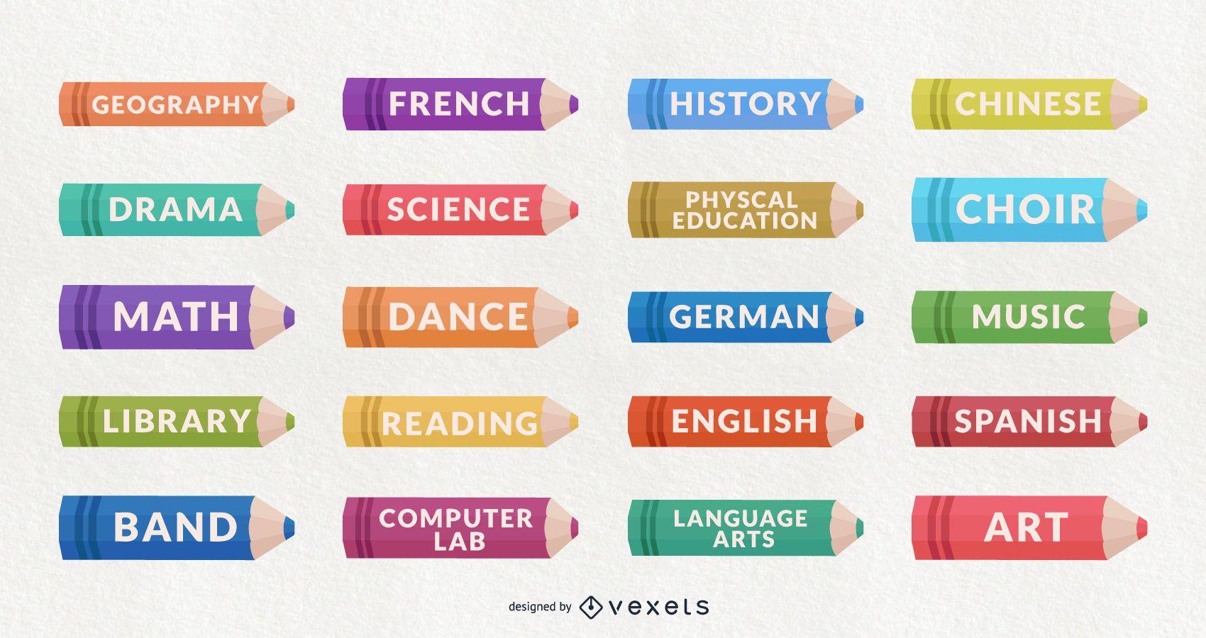 Conjunto de diseño de materias escolares de decoración de aulas