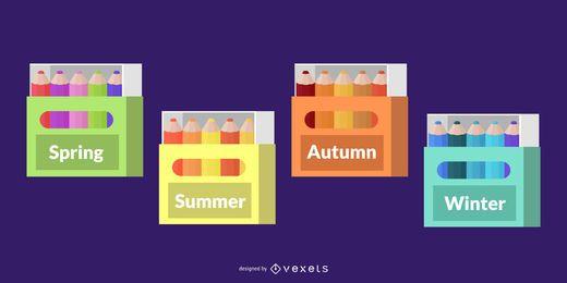 Paquete de temporadas meteorológicas para decoración del aula