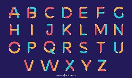 Conjunto de diseño de letra de alfabeto de lápiz