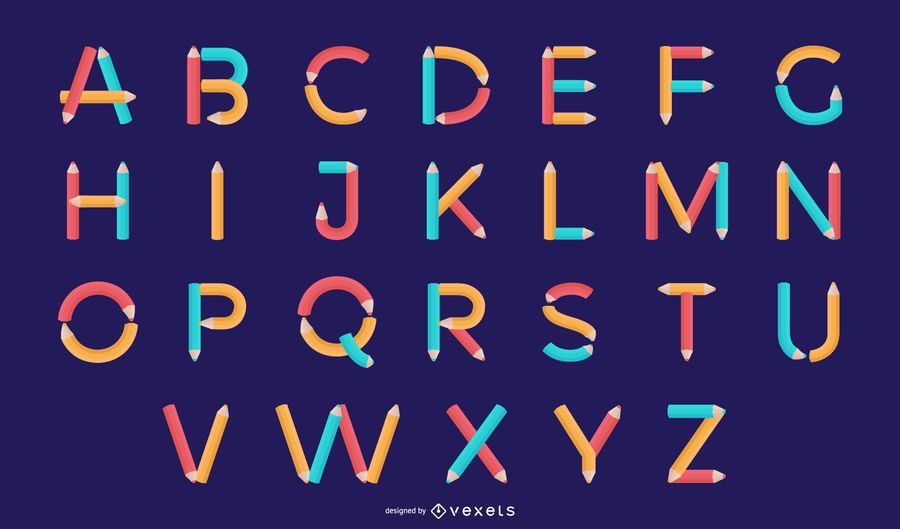 Conjunto de diseño de letra del alfabeto lápiz