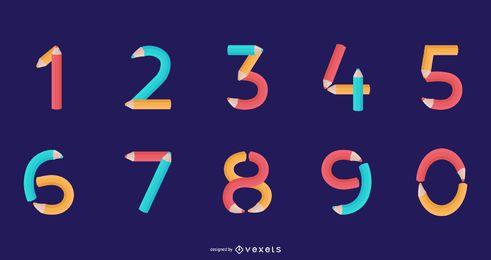 Conjunto de números de alfabeto de lápiz