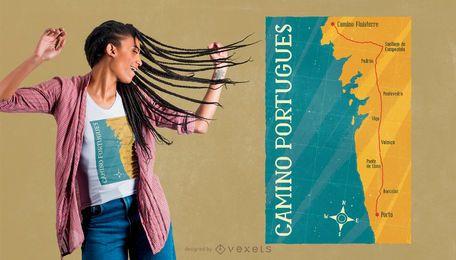Design de camiseta da Camino Portugues