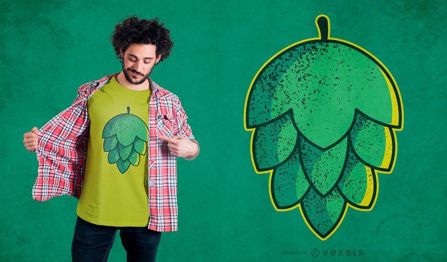 Projeto do t-shirt da flor do lúpulo