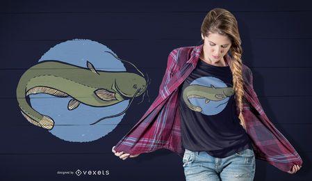 Design de t-shirt de peixe-gato europeu