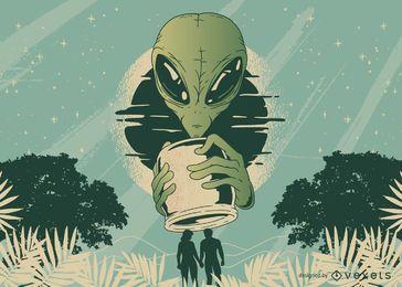 Diseño de camiseta alien jar