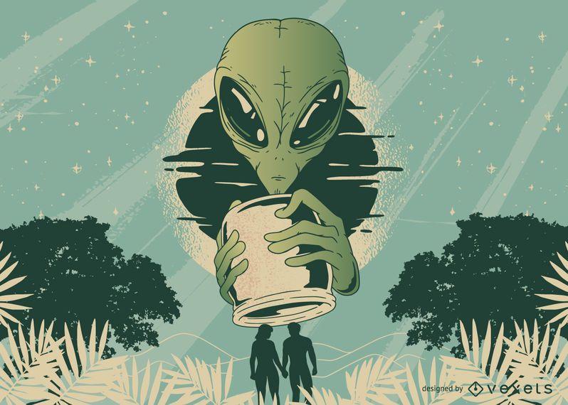 Design de t-shirt de frasco alienígena