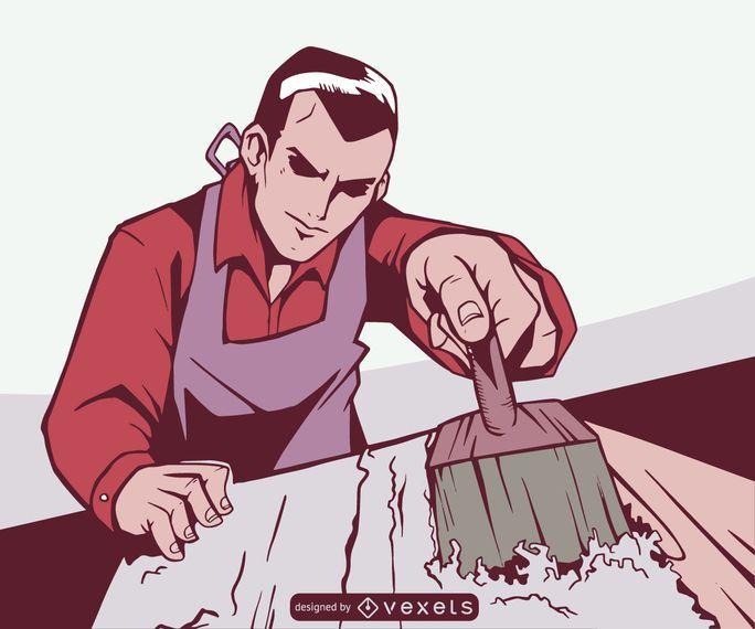 Homem que tira a ilustração de madeira