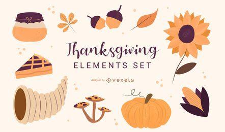 Conjunto de elementos de ilustração de ação de graças