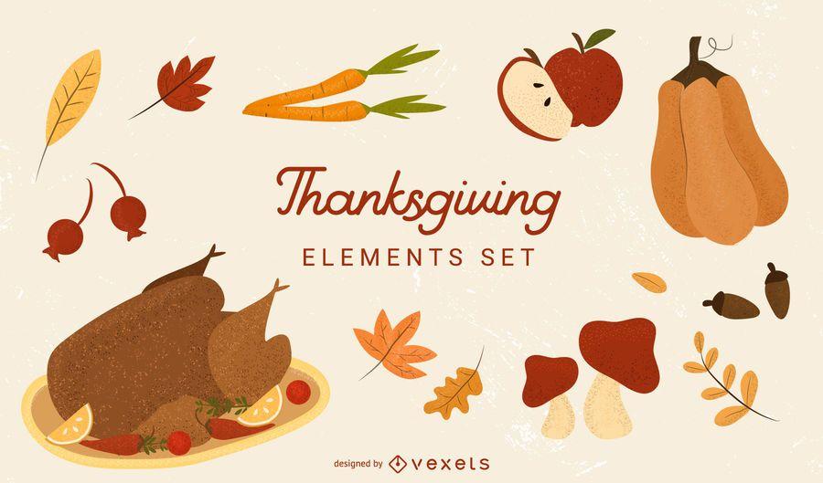 Thanksgiving elements vector set