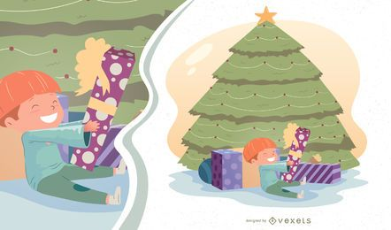 Christmas Morning Boy Vector Illustration