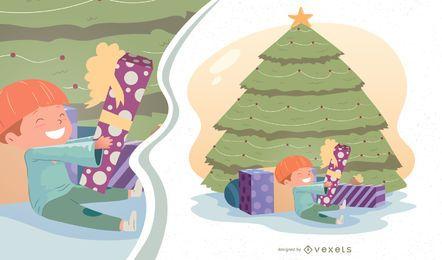 Ilustração em vetor menino na manhã de Natal