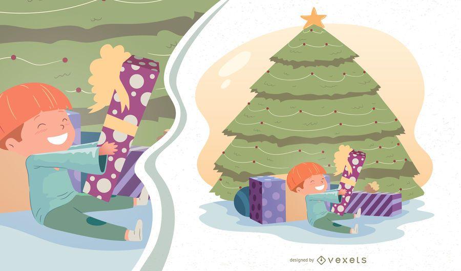 Ilustração em vetor menino manhã de Natal