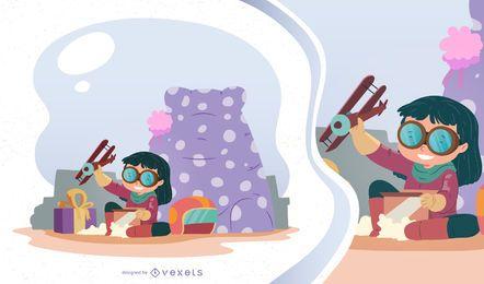 Ilustração em vetor menina na manhã de Natal