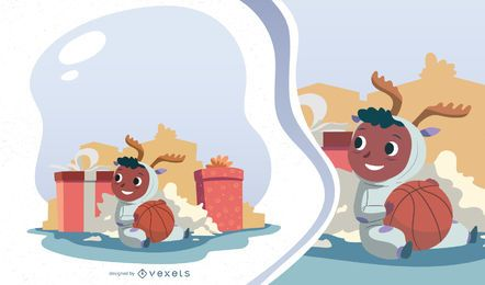 Christmas Morning Kid Vector Design