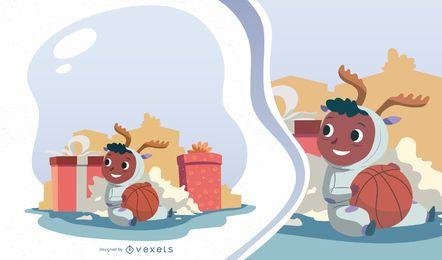 Diseño de vector de niño de mañana de Navidad