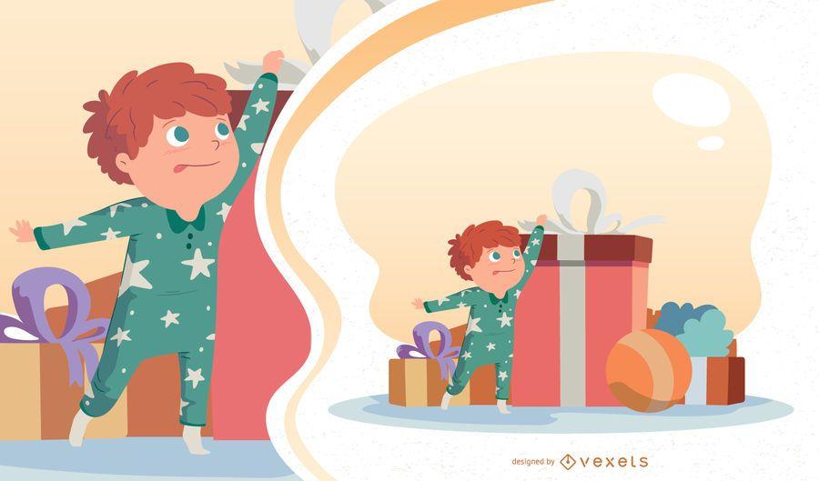 Ilustración de Vector de niño de Navidad
