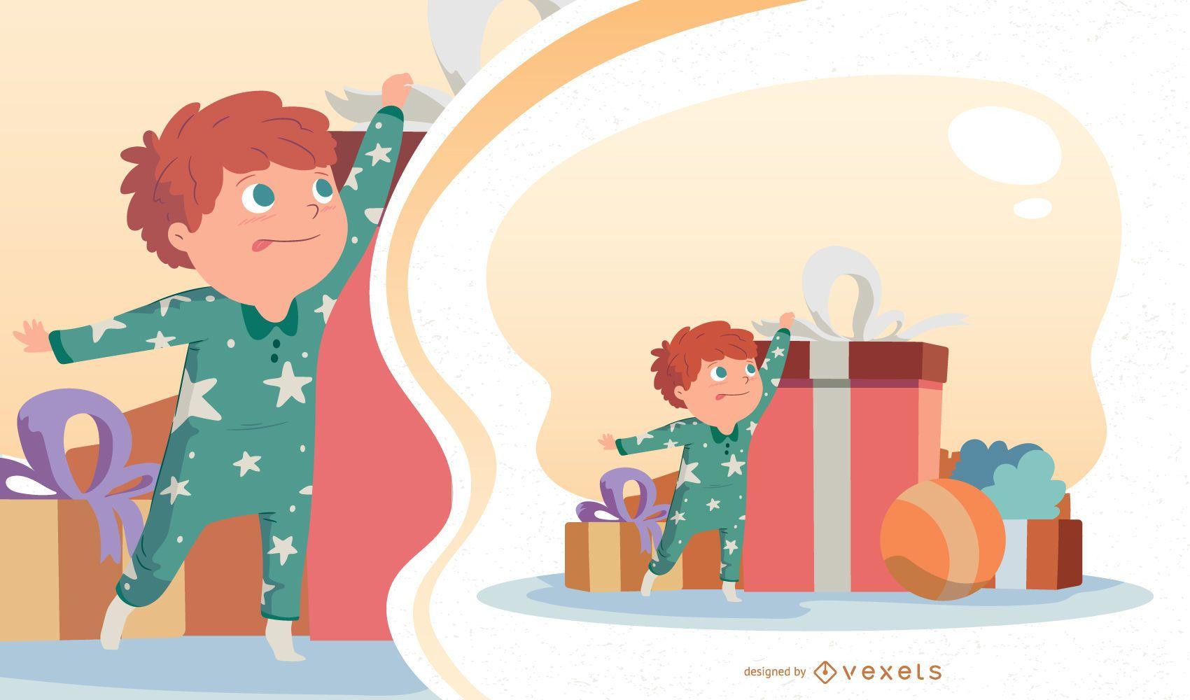 Christmas Kid Vector Illustration