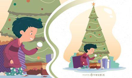 Desenho de vetor de menino de Natal