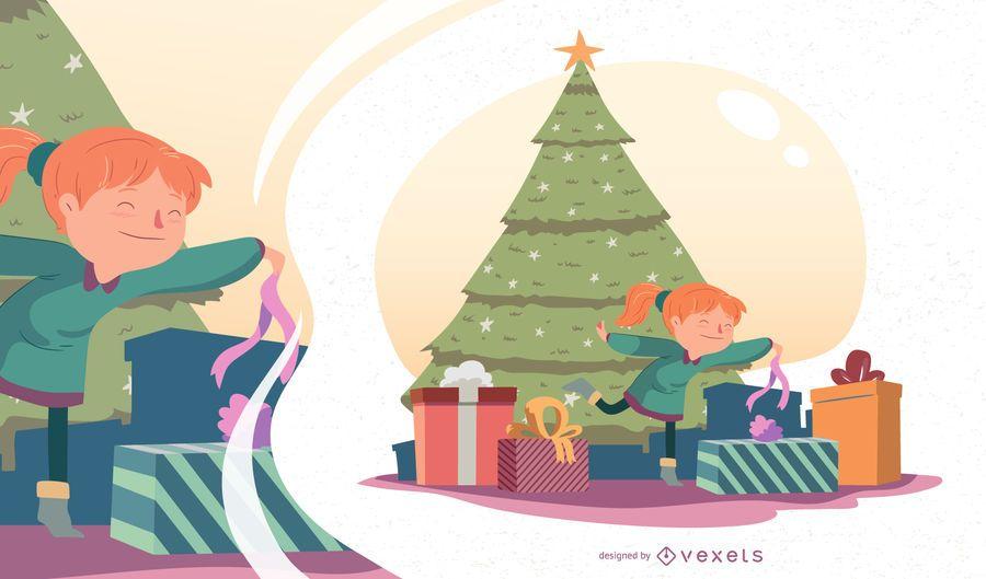 Ilustração em vetor garota Natal