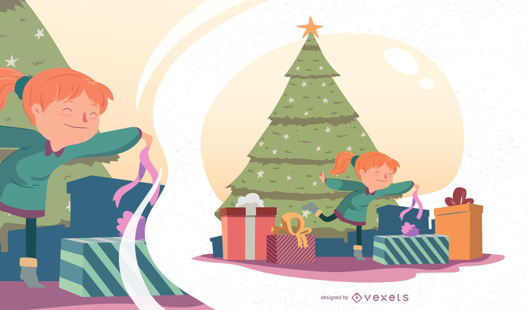 Ilustración de vector de niña de Navidad