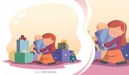 Ilustração em vetor garota presente de Natal