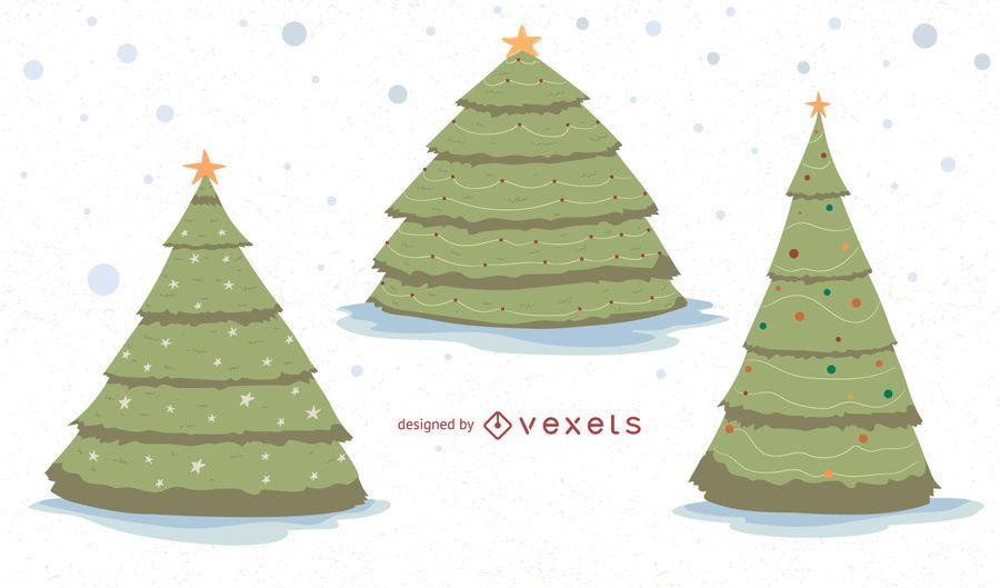 Christmas trees vector set