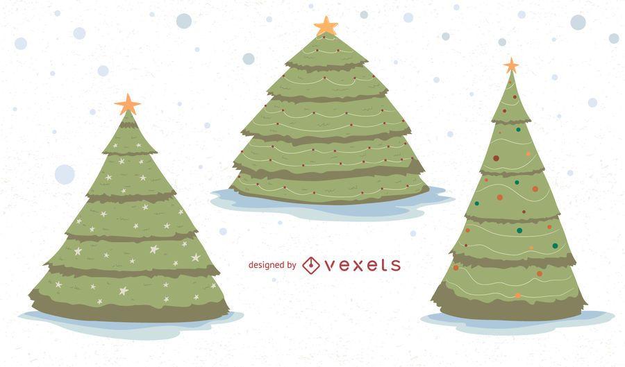 Conjunto de vectores de árboles de Navidad