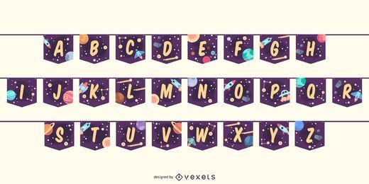 Conjunto de letras do alfabeto de espaço para banner Garland