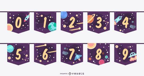 Conjunto de números de banner de guirnalda espacial