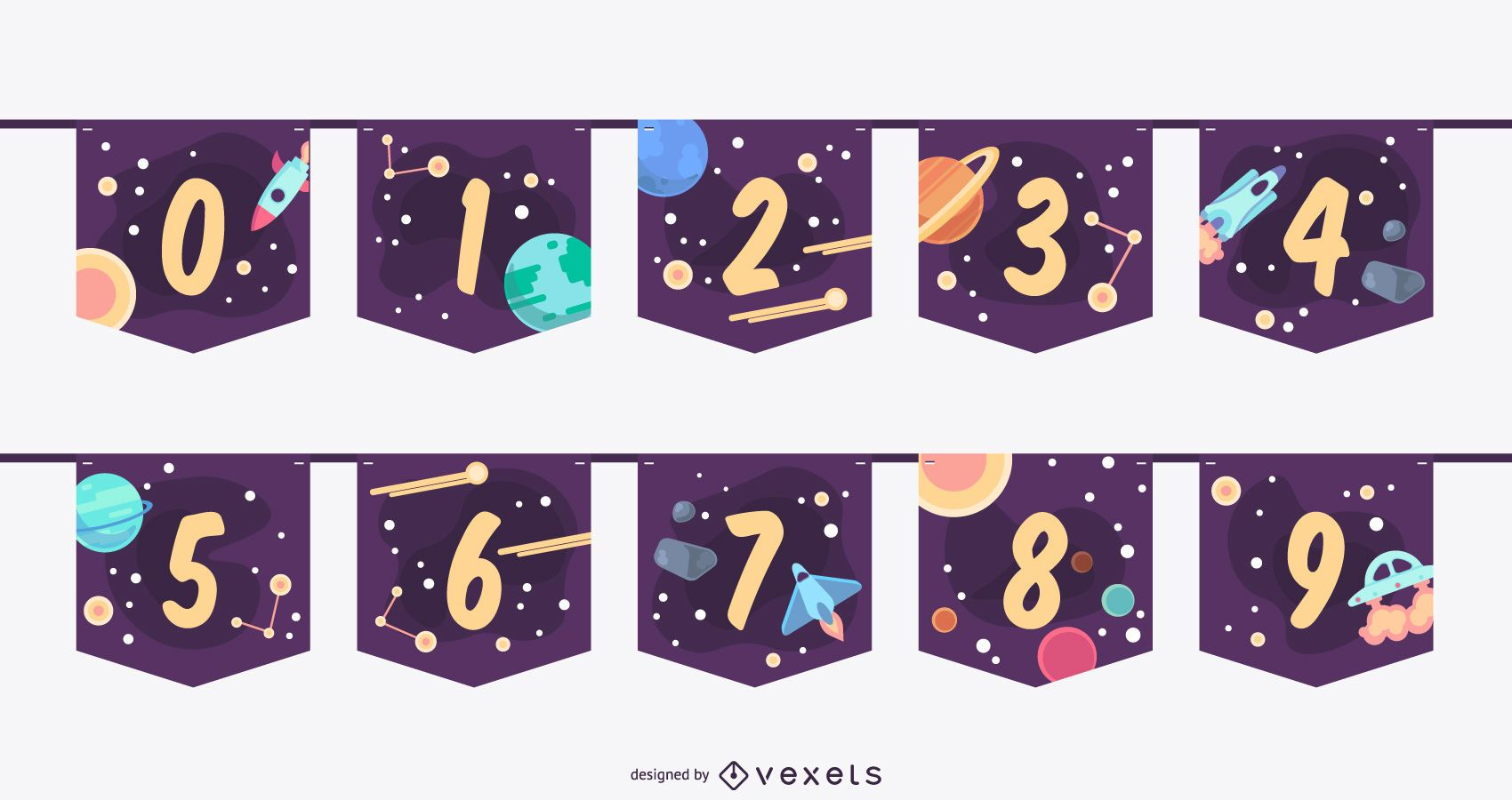 Conjunto de números de banner do Space Garland