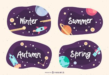 Pacote de design de banner para o espaço da temporada