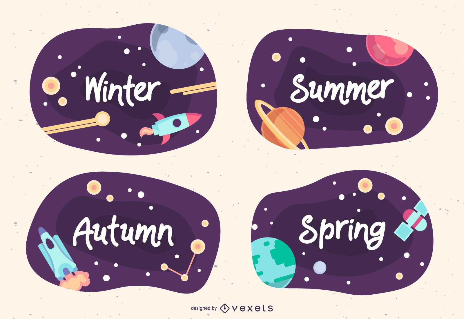 Paquete de diseño de banner de temporada espacial