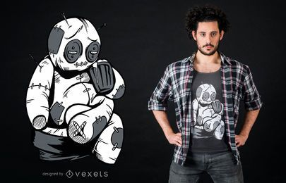 Voodoo-Puppe, die T-Shirt Entwurf trinkt