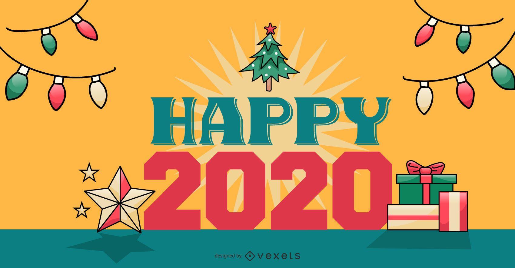 Happy 2020 Banner Design