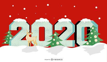 Jahr 2020 Weihnachtsbanner Design