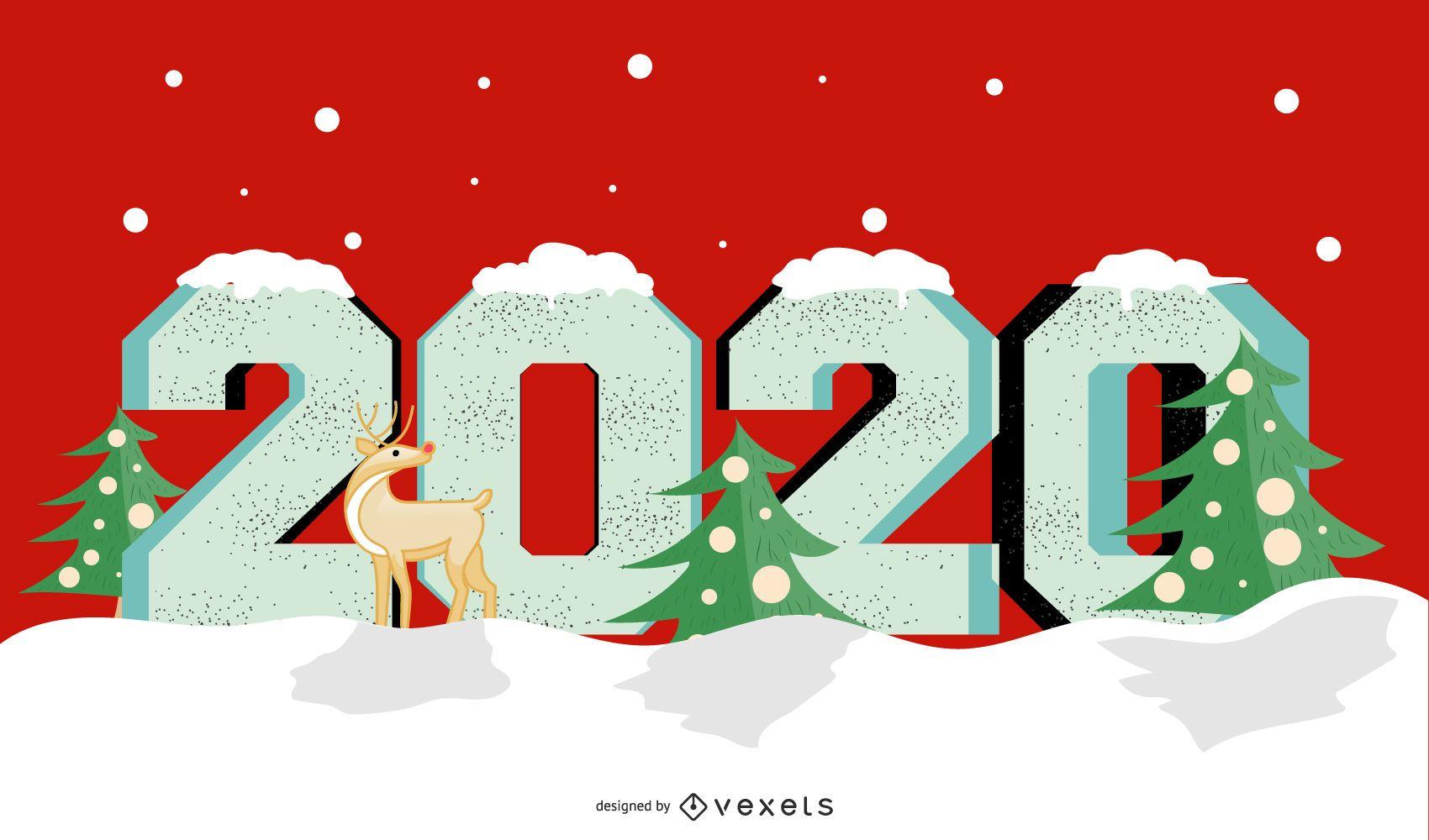 Ano 2020 Natal Banner Design - Baixar Vector