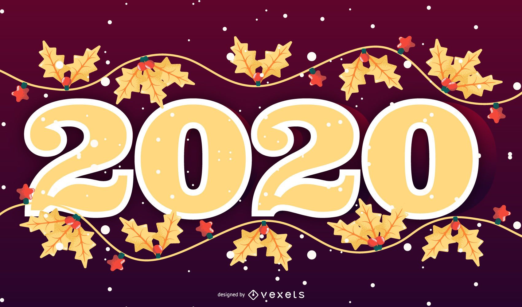 Happy 2020 Seasonal Banner Design - Vector download