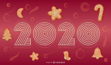Glückliches 2020 Feiertags-Fahnen-Design